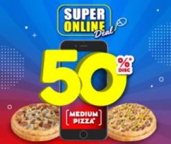 2 Medium Pizza Save 50% Off