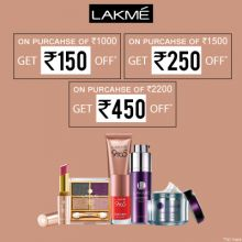 Lakme- Avail Best Offer : Rs.1000, Get Rs.150 Off/ On Purchase Of Rs.1500, Get Rs.250 Off/ On Purchase Of Rs.2000, Get Rs.450 Off