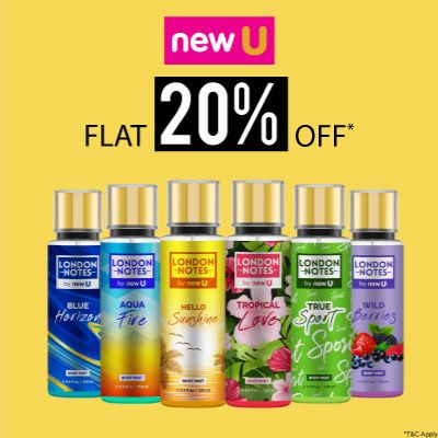 London Notes By Newu- Treat Your Senses With A Blockbuster Offer Of 'flat 20% Off' On Newu Fragrance Range