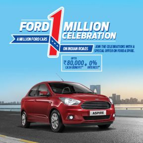 Ford 1 Million Celebration Upto ₹ 80,000 Cash Benefit + 0% Interest