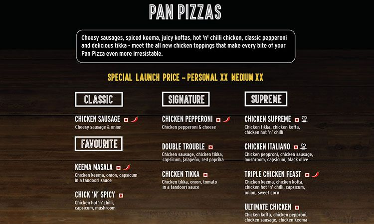 Menu of pizza hut